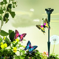 Wholesale- Vibrazione Solar Power Dancing Flying Butterflies Garden Decoration Toys