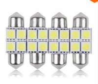 Wholesale Double Reading Light - 100 PCS 31MM 4SMD 5050 LED C5W Festoon Dome Bulb Xenon White Double pointed the Car reading light led light festoon