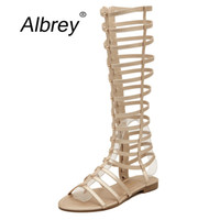 Wholesale party shoes for ladies - Wholesale- 2015 Summer Flat Gladiator Sandals Women Knee High Gladiator Sandals Rome Open Toe Summer Shoes for Ladies ; S120310