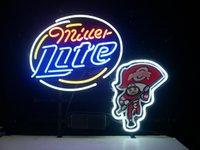 """Wholesale Neon Bar Lite - OHIO STATE BUCKEYES BRUTUS MILLER LITE REAL GLASS NEON SIGN BAR LIGHT BEER PUB SIGNS 17*14"""""""