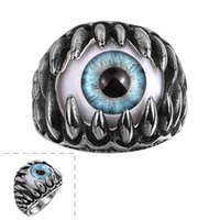 Wholesale Titanium Rings Lowest Prices - Titanium steel eyeball Rings European and American fashion Personality exaggeration unisex jewelry low price and free shipping