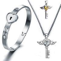 Wholesale Titanium Charm Key - Titanium Steel Lovers Open Heart Lock Bangles Key Pendant Necklace Couples Charm Jewelry Set Women Accessories Men Bracelets