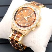 Wholesale Ladies Ceramic Band Watches - New Luxury watch Rhinestone Dial Gold alloy ceramic band Watches with calendar Women Ladies dress watches clock Quartz WristWatches 2016