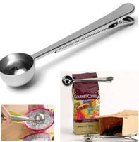 kaffee-clips großhandel-Edelstahl gemahlenen kaffee tee milchpulver Messbecher Löffel mit Tasche Verschlussclip Küche kochen unterstützung werkzeug DIY 2 stück h126