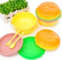 Wholesale 2sets Hamburger Shape Plastic Bento Lunch Box w Fork Spoon Wonderful Gift cm