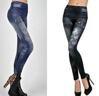 Wholesale Black Leggings Small - New Fashion Womens Small butterfly printed Leggings Seamless Imitation Jeans Nine minutes of pants 2 color optional