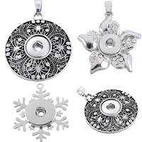 Antique Silver Color Flower Hollow Silver Flower White Rhinestone Christmas Snowflake Shape Fit Snap Button Pulseira DIY Necklace N553Q