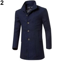 Männer Lange Mäntel Porzellan Kaufen -Großhandels- China Style Men Fashion Slim Fit lange Trenchcoat Windbreaker Revers Button Jacke Outwear