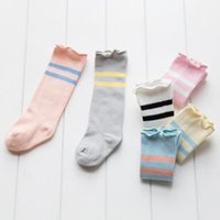 Wholesale Infant Boys Knee High Socks - Newborn stockings baby girls boys ruffle double stripe knited stocking autumn winter infant warmer legs toddler kids knee high socks R1683