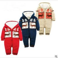 Wholesale Sweater Romper - Newborn Knitted Thick Christmas Moose Romper Jumpsuit Outfits Winter Boys and Girls Cotton Knitted Sweater Onesies Xmas Climbing Clothes