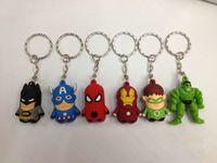 Wholesale 3d Alloy Key Chains Wholesale - MOQ 100PCS The Avengers Captain American anime superhero spiderman batman Iron Man, Thor IRON MAN PVC keychain 3D 3-4cm figures key chain
