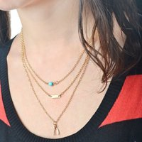 New Bijoux Fashion Multilayer Blue Bead Necklace Wishbone pour les femmes d'or Chain Link Geom Deco Collier Pendentifs en gros colar