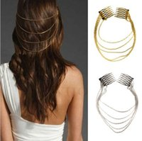 Wholesale Gold Band Hair Cuff - 1 2 x Fashion Punk Hair Cuff Pin Clip 2 Combs Tassels Chains Head Band Silver Gold Free