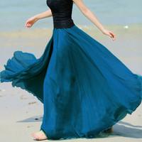 Wholesale Bohemian Denim Skirts - FANALA Summer Skirts Womens 2017 Bohemian Style Pleated Maxi Skirt Chiffon Women Beach Long Skirt Multi Colors Amazing