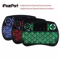 Rússia Espanhol Alemão Italiano iPazzPort Mini 2.4G Teclado USB sem fio BRG Backlight Air Mouse Touch Pad Mice 92 Chaves para Smart TV OS Linux