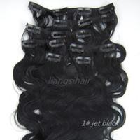"Wholesale 26 Remy Human Hair Clip - Body Wavy Style 15""-26"" 7pcs 1# Jet Black Clip in human Hair Extension Brazilian Peruvian Malaysia Indian virgin Remy human Hair Bundles"
