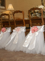 Wholesale Chair Covers Tutu Wedding - Pure White Tutu Tulle Chair Sashes Satin Bow Sash Custom Made Chair Skirt Ruffles Wedding Decorations Chair Covers Birthday Party Supplies
