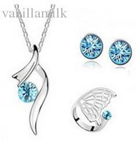 Wholesale Nickel Free Wedding Jewelry - Wholesale-Fashion nickel free austria crystal women Beautiful butterfly stars pendant necklace earrings rings wedding Jewelry Sets