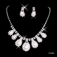 Wholesale Silver Jewellery Necklace Sets - Amazing Cheap 2015 Silver Plated Pearls & Rhinestone Real Image In Stock Bridal Necklace & Earrings Jewellery Sets For Evening Party 15040