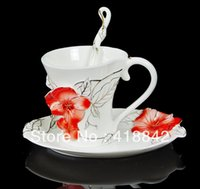 Wholesale Porcelain Sauce Dish - Wholesale-Porcelain Stunning Red Pansy Flower Coffee Set Cup Sauce Dish Spoon Holiday Gift