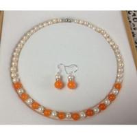 Wholesale Pearl Akoya - 7-8MM Natural White Akoya Cultured Pearl Orange Jade necklace earrings set