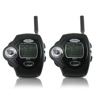 Atacado-relógio de pulso retroiluminado Pair LCD Two Way Radio Intercom Móvel Digital Walkie Talkie, Dual Band Interphone Transceiver