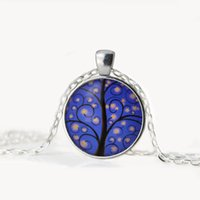 Wholesale Cabochon Resin Tree - NEW Tree of Life Necklace Pendant Gifts Glass Cabochon Silver Family Christmas Style Charm Jewellery children Necklaces The girl Gift