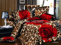 Wholesale Comforter Sets Leopard Print - Leopard rose wedding bedclothes 3d bedding set bedcover king size bed sheet Linen Duvet Comforter cover pillowcase 4pc of set