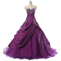 Wholesale Noble Embroidery - Noble Debutante Sweet 16 Girls Prom Ball Gowns With Sweetheart Embroidery Ruffles Beaded Taffeta Teens Quinceanera Dresses Cheap In Stock