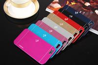 peau en métal brossé iphone achat en gros de-Nieuwe mode métal de luxe en aluminium brossé + peau dure de couverture arrière de PC, cas ultra minces de brosse pour l'iPhone 6 / 6plus Samsung