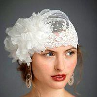 ingrosso cappelli per veli velati-2017 Swiss Dot Tulle Veil Hat con pizzo fatto a mano fiore rifilatura veli da sposa vintage veli da sposa