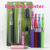 Wholesale E Cigar Starter Kit - Ego Ce5 blister e cigarette starter kit with ego-t electronic cigarette battery and ce5 atomizer clearomizer e cig cigs cigar cigars