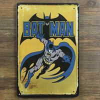 ingrosso arte in metallo muro in alluminio-nuovo 2015 Personalizzato Batman Vintage Poster Retro Pittura immagine decorativa Tin sign Ferro Metallo murale Pittura Home Art Wall Decor