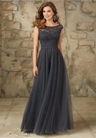 Wholesale Charcoal Bridesmaids Dresses - Sexy A Line Country Bridesmaid Dresses 2016 Charcoal Scoop Neckline Capped Sleeves Long Formal Maid Of Honor Dress Lace Top Floor Length