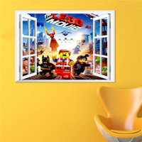 Wholesale Window View Wall Mural - 3D Window View The Lego Movie Wall Art Decal Sticker Kids Boys Girls Room Decoration Wallpaper Mural Decor Home Decal Sticker
