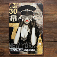 Wholesale Sexy Bar Paintings - Route 66 Brooklyn Vintage Metal crafts Wall Art Decor Plaque Sexy girl Tin Sign Home Bar Wall Decoration Poster Painting 20*30CM