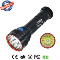 Wholesale led strong light flashlight - AloneFire HF14 Super bright waterproof hunting led flashlight 14x CREE XM-L T6 LED 15000Lm 14T6 strong light LED Flashligth Torch