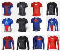 Wholesale Spiderman Cycling Tops - 2014 Newest Mens Short Long Sleeve Cycling Jerseys Super Heroes Skinsuits Zentai T-shirt Spiderman Batman Iron Plus Size Biking Suits M145 6
