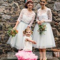 robes de tutu pour juniors achat en gros de-2016 Blanc Robes De Demoiselle D'honneur Tutu Jupe Tulle Une Ligne Fille Femmes Prom Pas Cher Juniors Filles De Mariage De Mariée Dentelle Jupes Parfaits Pour Les Femmes