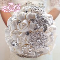 Wholesale Diamond Roses Silk - 6 Colors Luxury Handmade Rose Pearls & Diamonds Bride Holding Flower Wedding Bridal Bouquet Wedding Flowers Bouquets Brooch Flower Favors