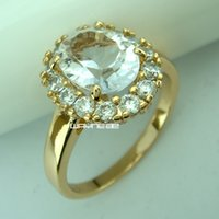 Wholesale Ladies Gold Wedding Rings - Attractive lady Wedding 18k gold filled band ring Sz6,7,8,9 R213