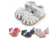 Wholesale flower shoes for babies - 2016 new fashion children girl's summer shoes colorful flower Genuine Leather Sandals for baby girl