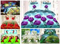 Wholesale Tulip Floral Bedding - Home textiles, New style tulip flower design 3D 4pcs bedding set,of duvet cover bed sheet pillowcase,