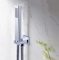 placa de chuveiro de aço inoxidável quadrada venda por atacado-Cabeça de chuveiro de bronze quadrada HandHeld do banheiro com a mangueira de aço inoxidável de 1.5m do suporte de parede de bronze