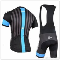 cycling оптовых-2015 небо черный Велоспорт Джерси набор с коротким рукавом нагрудник брюки/брюки полосы на спине быстрый сухой дышащий Велоспорт одежда гель PAD размер XS-4XL