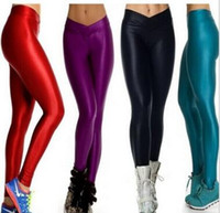 Wholesale Fluorescent Leggings Black - Fashion candy color Girls Skinny Sexy Stretch Sports pants size code lift the hips V-waist pants shiny fluorescent candy colored leggings
