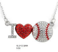 Wholesale Rhinestone Baseballs - wholesale zinc alloy mental rhodium plated clear crystal heart connector enamel sport charm letter I love baseball necklace