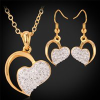 Wholesale Gold Shamballa Necklace - Free Shipping 18K Real Gold Plated Shamballa Heart Pendant Earrings New Gorgeous Jewelry Sets Gift For Women Jewellery Wholesale MGC S3064
