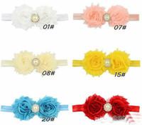 Wholesale Headbands Free Ems - ems Free Shipping 12 Colors Baby Girls Flower Headband 2 Flowers Children Grosgrain Bowknot Hair Accessories Kids Hairbands