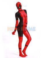 Wholesale Hot Superhero Costumes - Lady Deadpool superhero Costume red and black spandex halloween Deadpool costume hot sale zentai suit free shipping